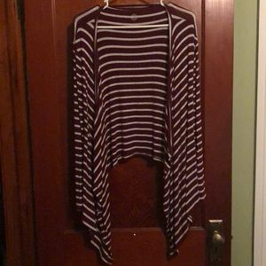 Maroon and white horizontal stripe SO cardigan